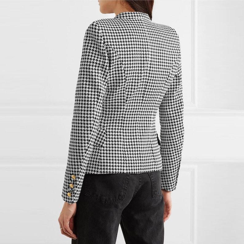 Black White Blazer Designer Blazer Gold Buttons Slim Fit Women Blazer Blazer Jacket High Fashion Jackets Coat Jacket