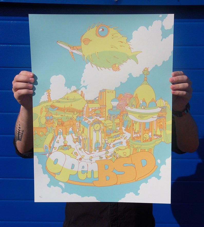 OpenBSD Puffer City Screenprint Poster Limited image 0