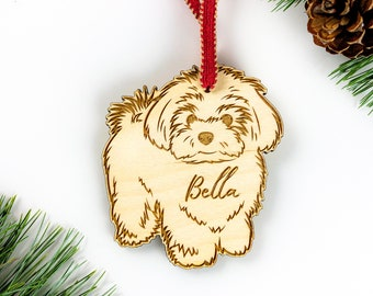 Maltese Gift Includes Custom Text Maltese Ornament