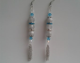 blue and clear crystal glass beads and spacers Handmade Beaded Pierced Earrings Silver sparkle beads silver chain tassel fish hook posts