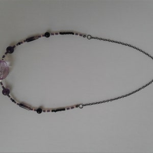 Sparkly Blueberry Quartz and Cherry Quartz Necklace with Wire Wrapped Pendant and Sterling Silver Beads Chain /& Findings Blue and Pink