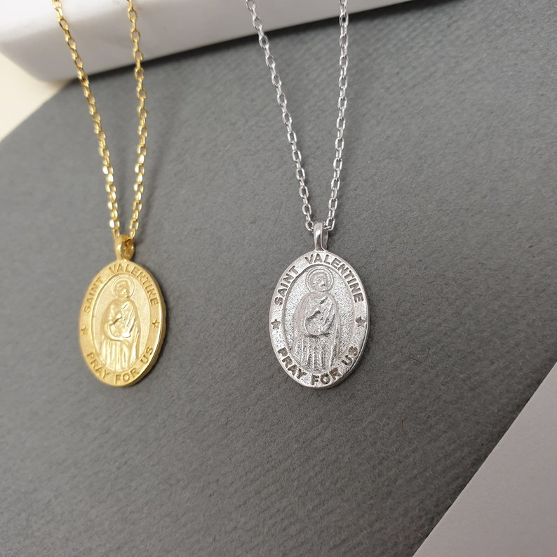 Tiny Miraculous Medal Necklace Silver Medallion necklace Gold Coin Necklace Pray For Us Saint Valentine Gold Silver MIRACULOUS necklace