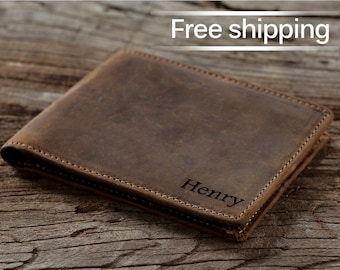 Men/'s PERSONALISED with a Photo wallet Faux leather wallet Birthday Dad Wallet