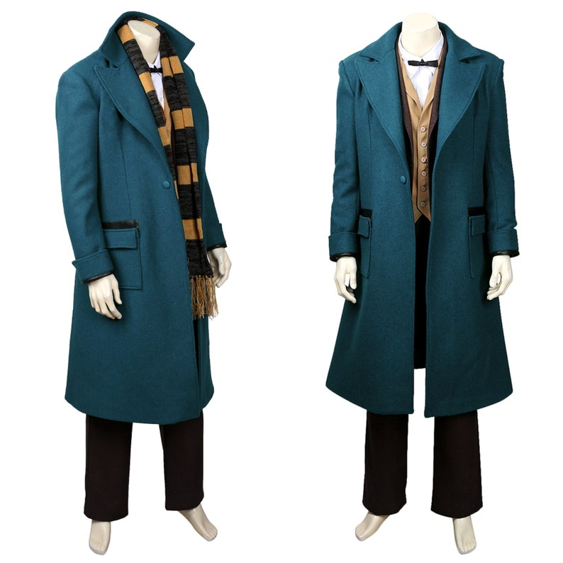 Fantastic Beasts and Where to Find Them of Newt Scamander Cosplay Costume Aduld Man Cosplay Costume Green Coat