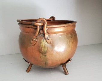 """5"""" Copper Footed Bowl with handle"""