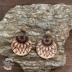 Sunflower Circle Wood Earrings / Sunflower Earrings / Wood Burned Earrings / Statement Earrings / Natural Wood Earrings / Boho Earrings