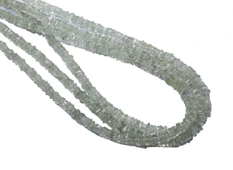 Natural Green Amethyst Flat Square Smooth Beads~~4mm-~~Natural Semiprecious Gemstone Flat Heishi Beads~~16 Inch