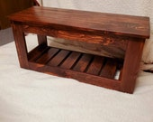 Handmade Entry bench and shoe holder. Fourier stand. Bedroom end of bed bench multiple uses bench. Handmade