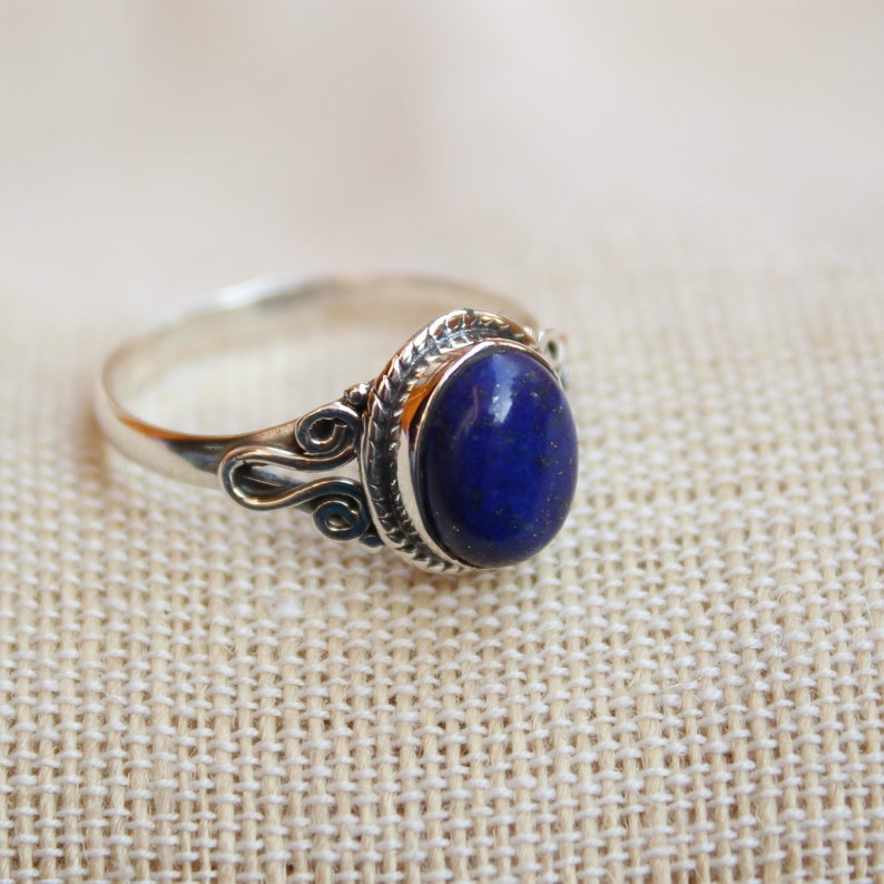 gift for her dainty jewelry Sterling Silver ring golden flakes natural lapis Lazuli Lapis lazuli ring wedding jewelry stackable rings