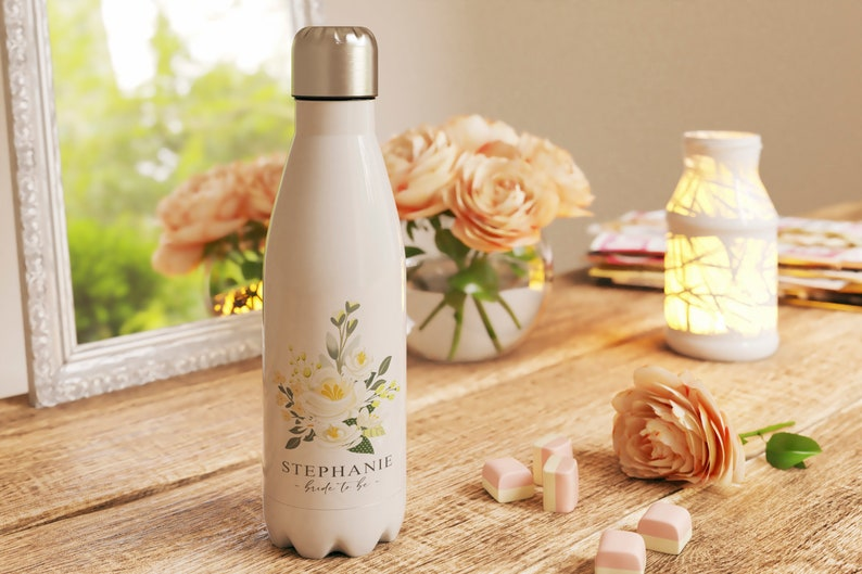 Personalised Floral Water Bottle Bridal Gift Gift for the image 1