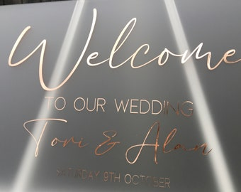 Wedding Welcome Sign    A2    Frosted acrylic Welcome Sign