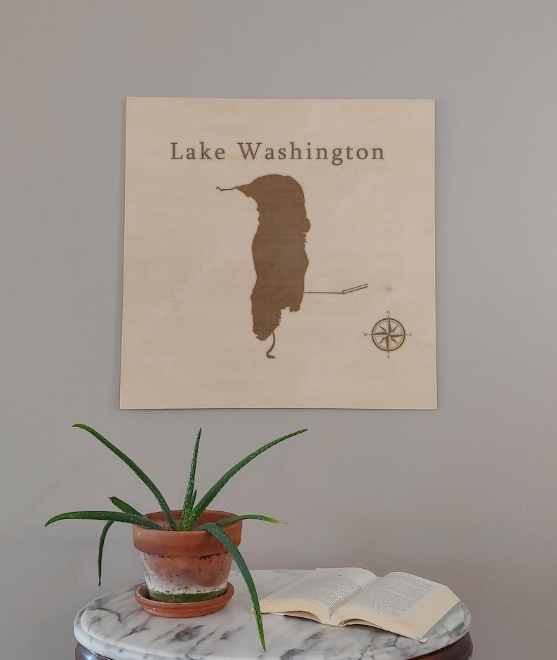 Lake Washington Map Wall Art Office Decor Gift Engraved Florida