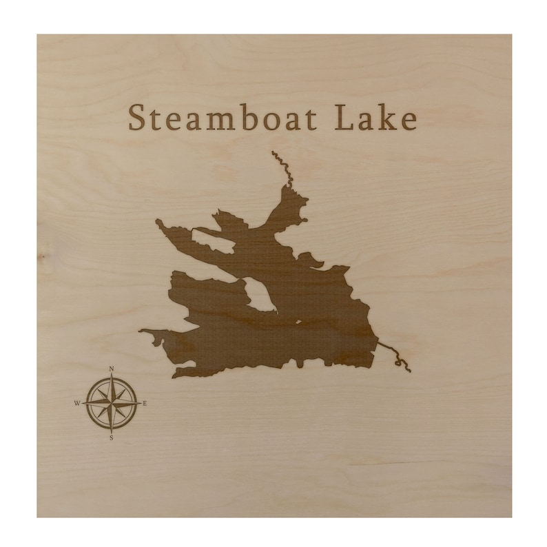 Steamboat Lake Map Wall Art Office Decor Gift Engraved Colorado
