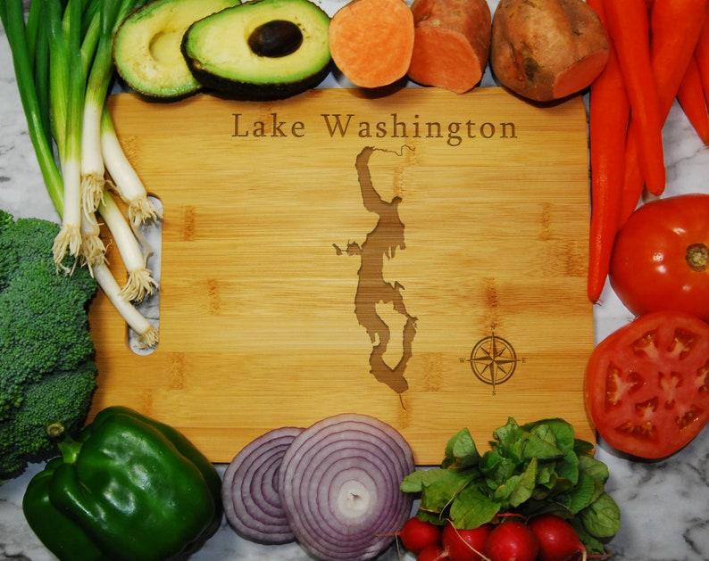 Lake Washington Map Engraved Bamboo Cutting Board 9.75x13.75 inches Washington