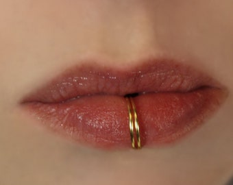 Double Silver Plated Lip Ring - Gold&Silver Plated - Fake Lip Ring - No Piercing -20G