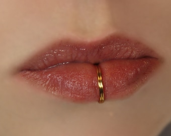 Double Silver Plated Lip Ring - Gold&Silver Plated - Fake Lip Ring - No Piercing -22G