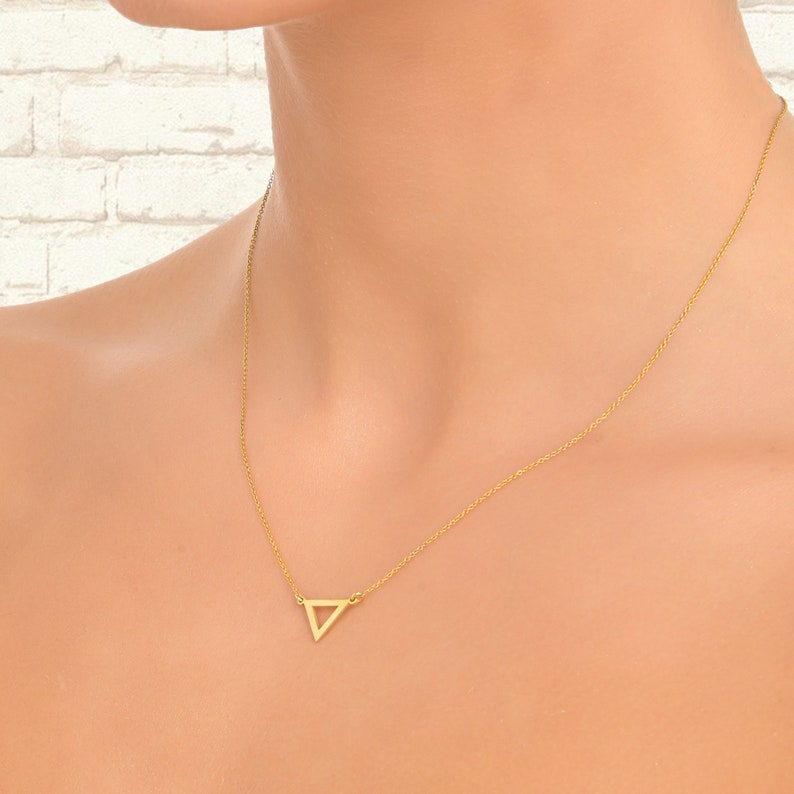 Dainty Little Gold Geometric Pendant Tiny Floating Triangle Necklace mother/'s day gift for her 14k yellow gold charm and chain