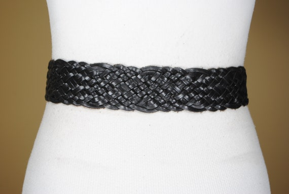 80s  43''  Wide Black Braided Belt for Women. Wov… - image 6
