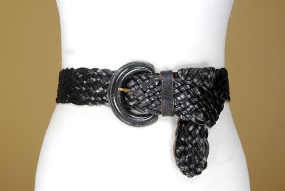 80s  43''  Wide Black Braided Belt for Women. Wov… - image 1