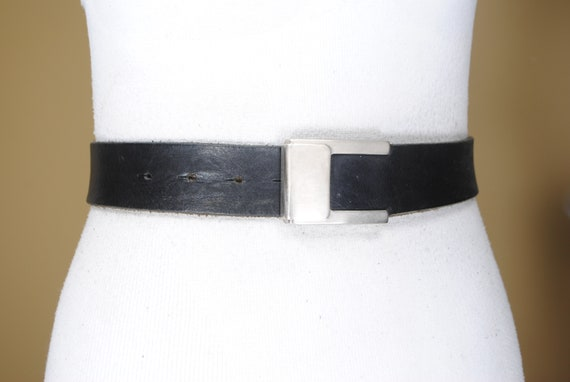 25-38/'/' Corset belt triple prong buckle 90s Wide Black Leather Belt for women with brass buckle