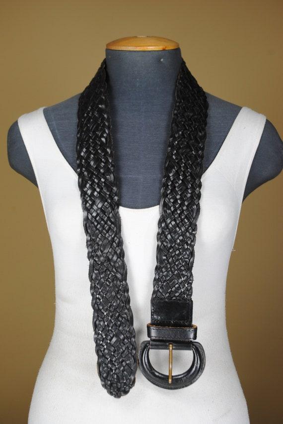 80s  43''  Wide Black Braided Belt for Women. Wov… - image 10