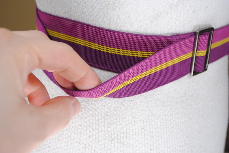 Vintage Adjustable Pink Maroon Yellow Striped Stretch Belt for women Purple Elastic band belt 30-50/'/' 90s
