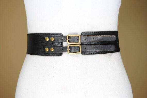"90s  27""-29""  Wide Black Leather Belt for women, D"