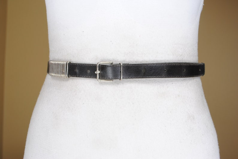 Skinny Black Leather Belt for Women with Silver Buckle 38-45/'/' Silver Bling belt 70s