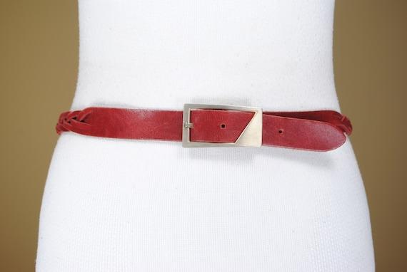 80s 30/'/'-33/'/' beige faded denim waist belt for women with rectangular silver buckle