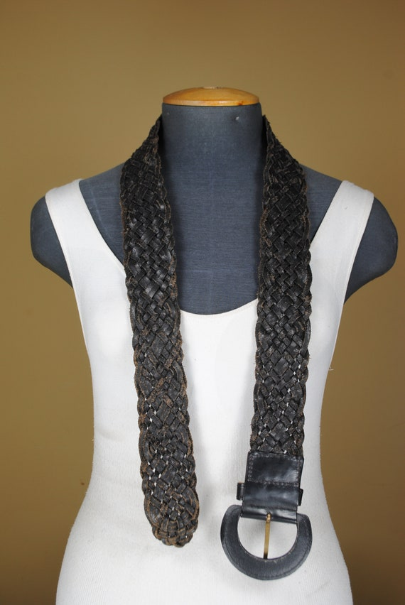 80s  43''  Wide Black Braided Belt for Women. Wov… - image 9