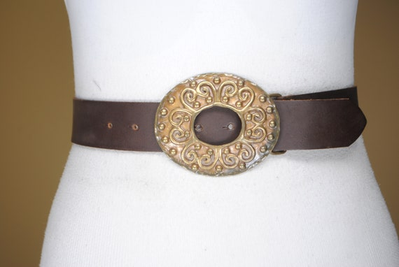 Wide Corset Style 90s Brown Leather Belt Buckles Antique Victorian Medieval Large