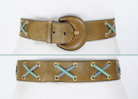 1980s 28''-30'' Khaki Cinch Leather Belt for Women