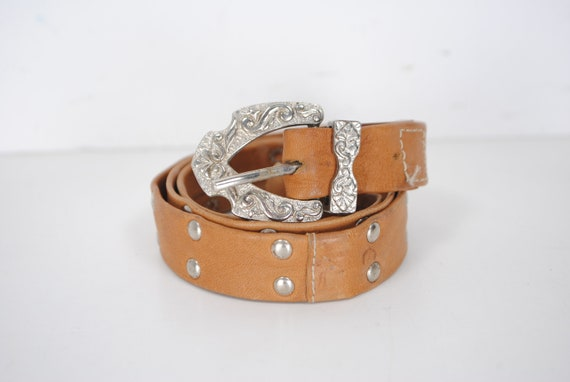 """70s 27"""" XS skinny brown cowgirl belt for women"""