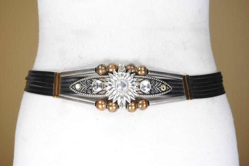 Ancient Egypt style belt 32-33 Vintage Black and Gold Silver Metallic belt for women Engraved bling belt cosplay festival belt