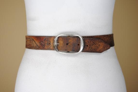 50s 38''-43'' NASCAR Brown Leather Belt, Unique Be