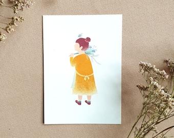 Flower Girl, Postcard, A6, Illustration, Greeting Card