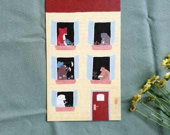 Postcard with animal house, spring motif, animal neighboring, greeting card, various animals, 10 x 17 cm
