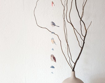 Pendant with birds, hanger, mobile, wind chime, paper decoration, robin, blue tit, tailed tit, owl