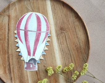 Trailer with balloon and wild boar, hanger, mobile, wind chiming, paper decoration