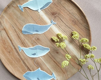 Pendant with whales, hanger, mobile, wind chiming, paper decoration