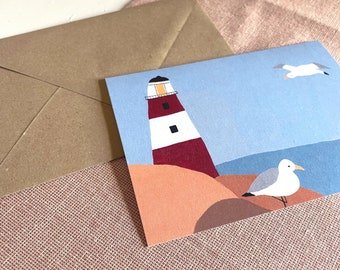Lighthouse with seagulls, folding map, North Sea map, incl. envelope, A6, illustration