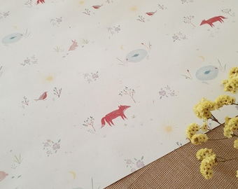 Gift wrapping paper with spring pattern, 60x40, 115g, fox and rabbit, robin