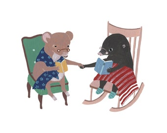 Folding Card, Mouse & Mole, Love Greetings, Greeting Card with Envelope, Illustration