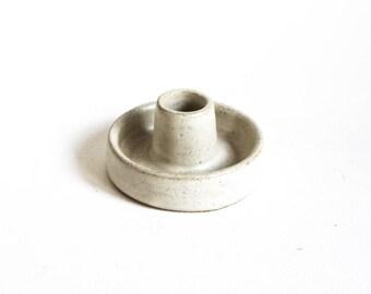 Ceramic Stoneware speckled clay satin cream candlestick/candle holder, handthrown, tableware, handmade.