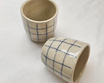 Minimal unique handmade/ handthrown stoneware ceramic espresso / tea cup with modern line detail and shiny transparent glaze