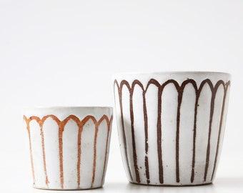 Handmade, hand decorated plant pot with gloss white glaze