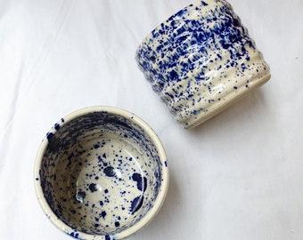 SPLASH WAVY CUP - Minimal unique handmade/ handthrown stoneware ceramic cup with cobalt splash detail and shiny transparent glaze