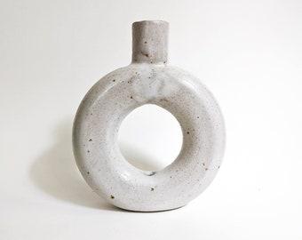 Frosty white speckled stoneware donut vase
