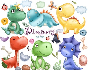 Cute dinosaurs clipart. Dino clipart. Digital download PNG