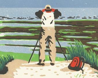 Hobbies - Birdwatching, linocut print